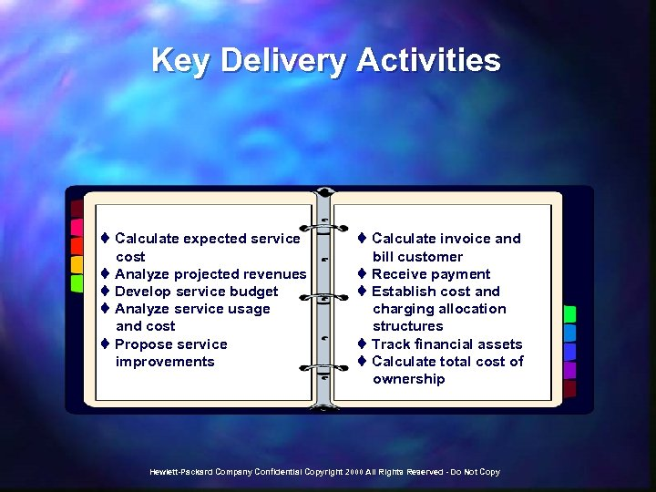 Key Delivery Activities t Calculate expected service cost t Analyze projected revenues t Develop