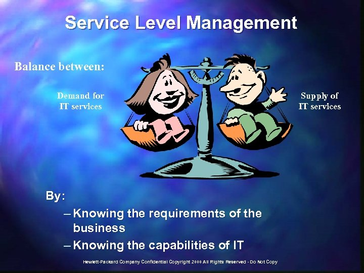 Service Level Management Balance between: Demand for IT services By: – Knowing the requirements