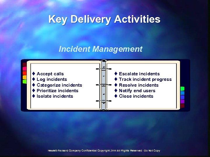Key Delivery Activities Incident Management t Accept calls t Log incidents t Categorize incidents