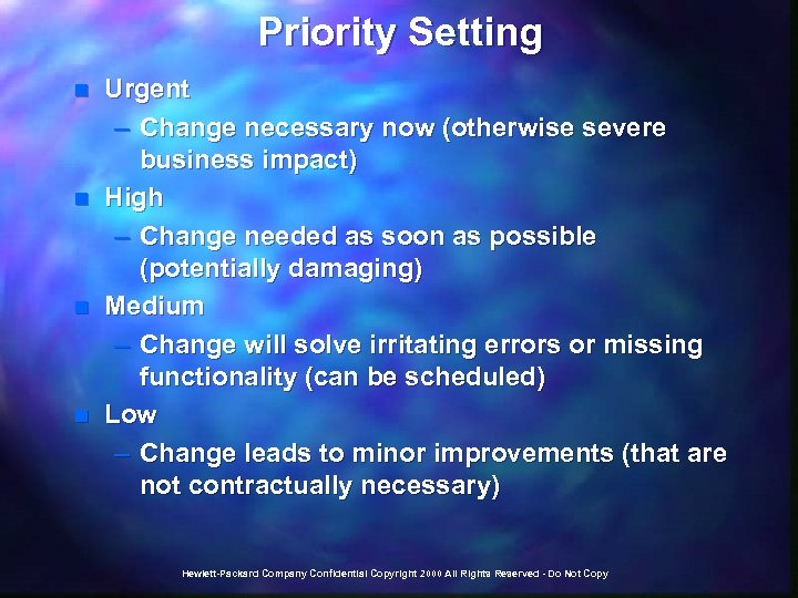 Priority Setting n n Urgent – Change necessary now (otherwise severe business impact) High