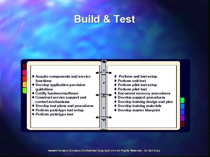 Build & Test t Acquire components and service functions t Develop application provision guidelines