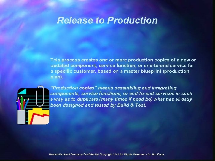 Release to Production This process creates one or more production copies of a new