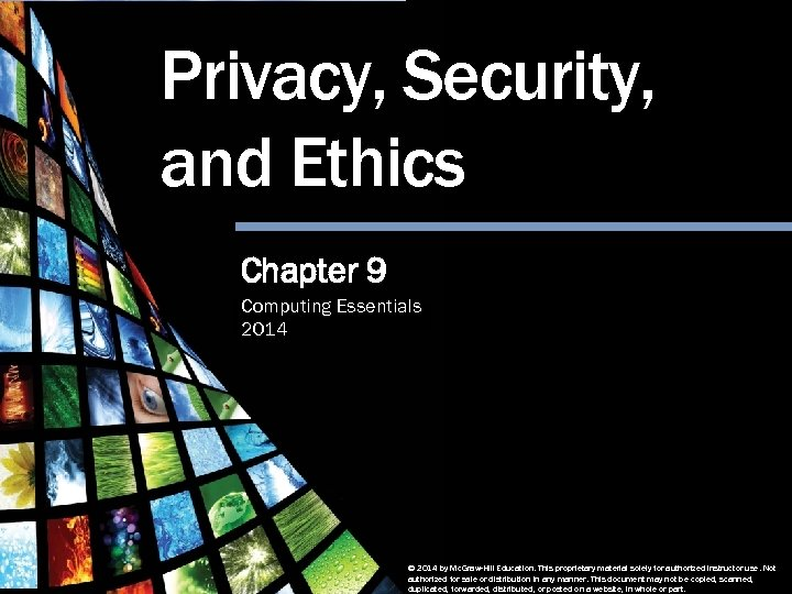 Privacy, Security, and Ethics Chapter 9 Computing Essentials 2014 Privacy, Security and Ethics Computing