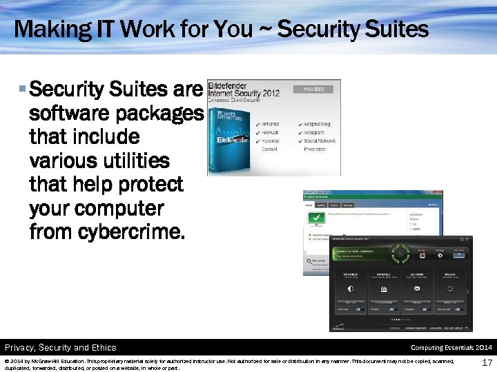 Making IT Work for You ~ Security Suites § Security Suites are software packages