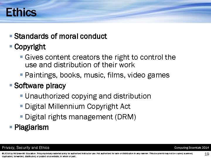 Ethics § Standards of moral conduct § Copyright § Gives content creators the right