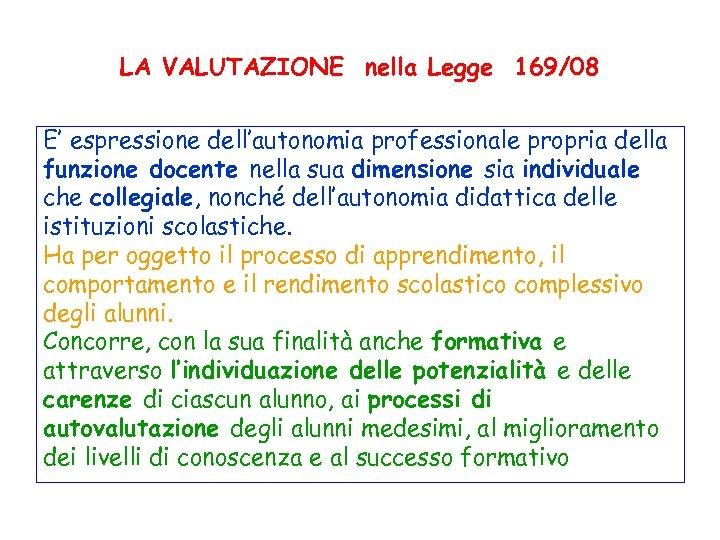 LA VALUTAZIONE nella Legge 169/08 E' espressione dell'autonomia professionale propria della funzione docente nella