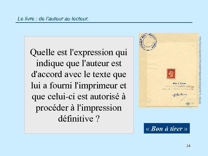 Le livre : de l'auteur au lecteur. http: //www. laposte. fr/musee/images/actu/algerie 15_big. jpg Quelle