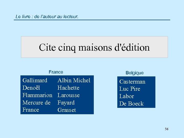 Le livre : de l'auteur au lecteur. Cite cinq maisons d'édition France Gallimard Denoël