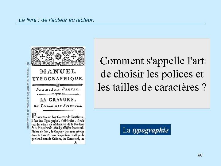 http: //www. lri. fr/~fekete/Typographie/Fournier/0001. gif Le livre : de l'auteur au lecteur. Comment s'appelle