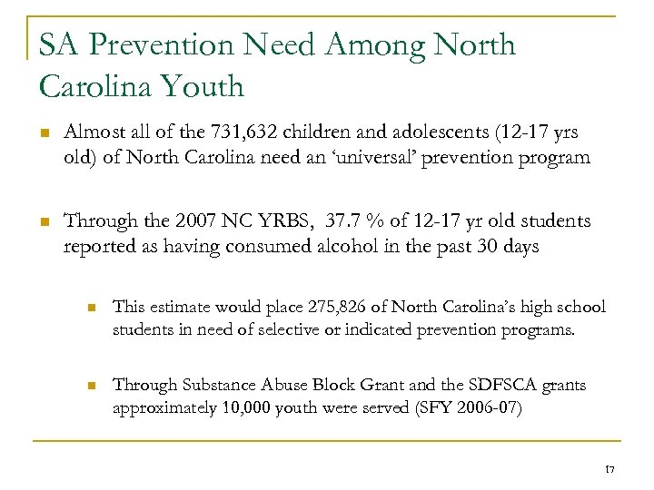 SA Prevention Need Among North Carolina Youth n Almost all of the 731, 632