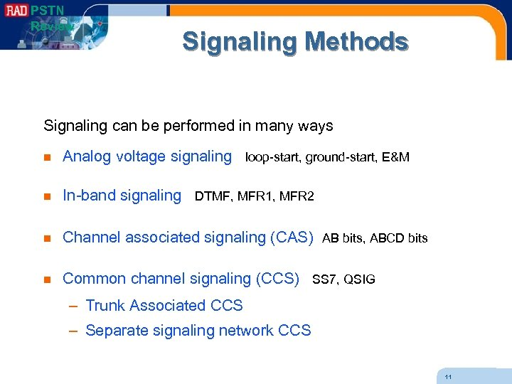 PSTN Review Signaling Methods Signaling can be performed in many ways n Analog voltage