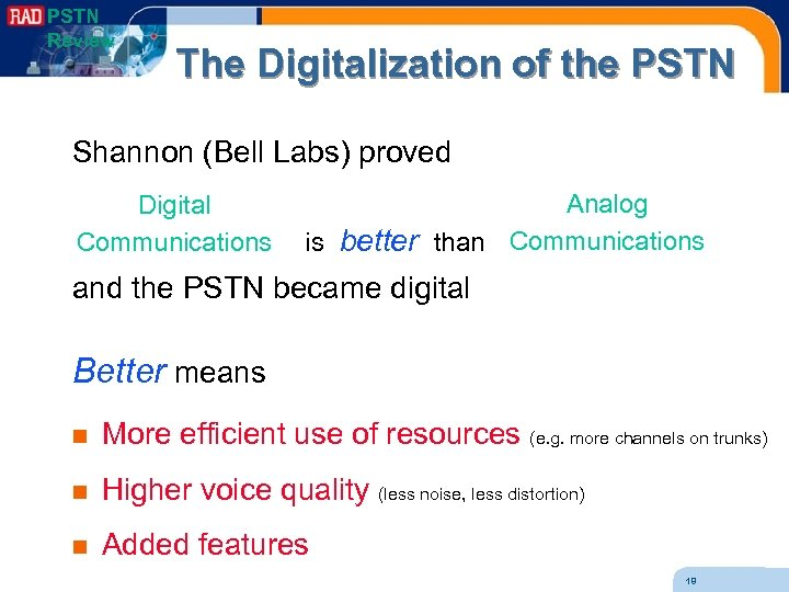 PSTN Review The Digitalization of the PSTN Shannon (Bell Labs) proved Digital Communications Analog