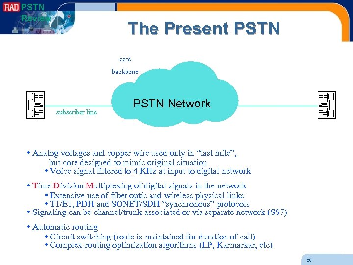 PSTN Review The Present PSTN core backbone subscriber line PSTN Network • Analog voltages