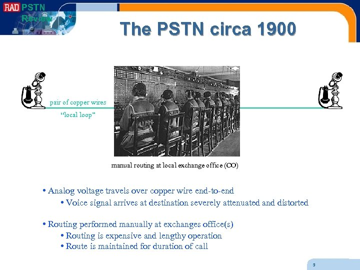 "PSTN Review The PSTN circa 1900 pair of copper wires ""local loop"" manual routing"