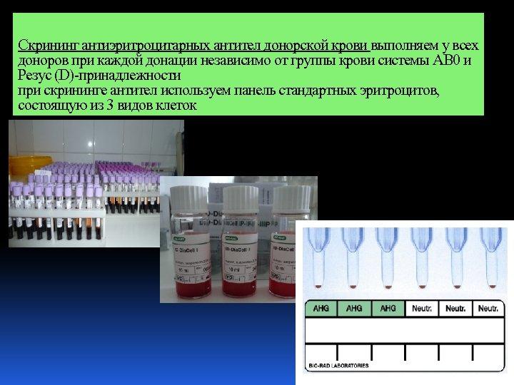 Скрининг антиэритроцитарных антител донорской крови выполняем у всех доноров при каждой донации независимо от