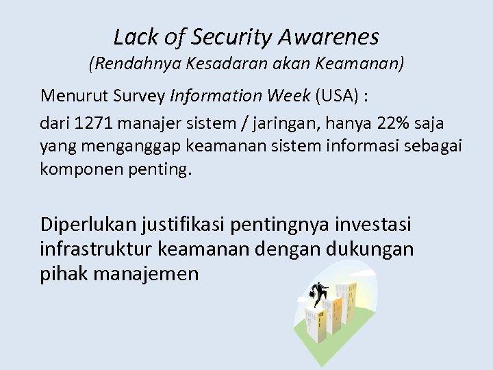 Lack of Security Awarenes (Rendahnya Kesadaran akan Keamanan) Menurut Survey Information Week (USA) :