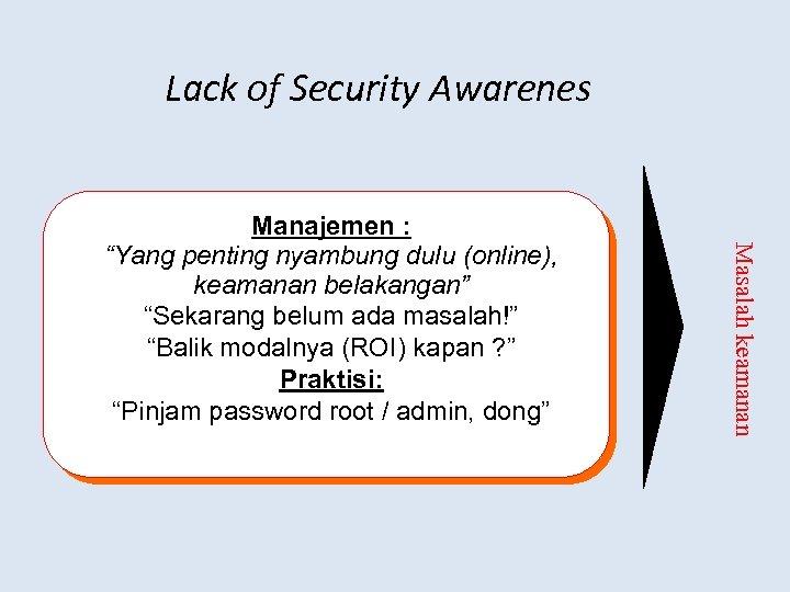 """Lack of Security Awarenes Masalah keamanan Manajemen : """"Yang penting nyambung dulu (online), keamanan"""