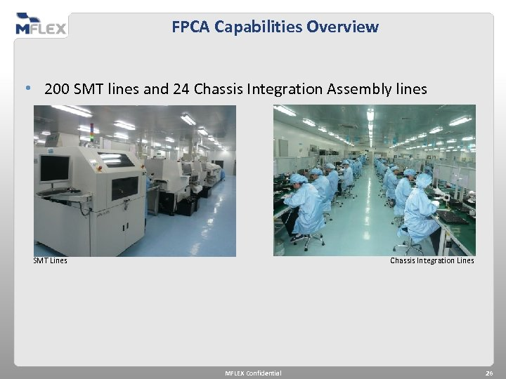 FPCA Capabilities Overview • 200 SMT lines and 24 Chassis Integration Assembly lines SMT