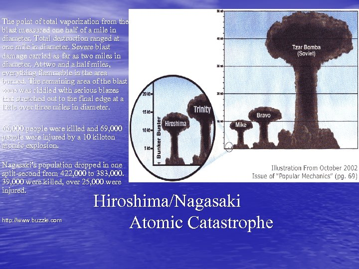 The point of total vaporization from the blast measured one half of a mile