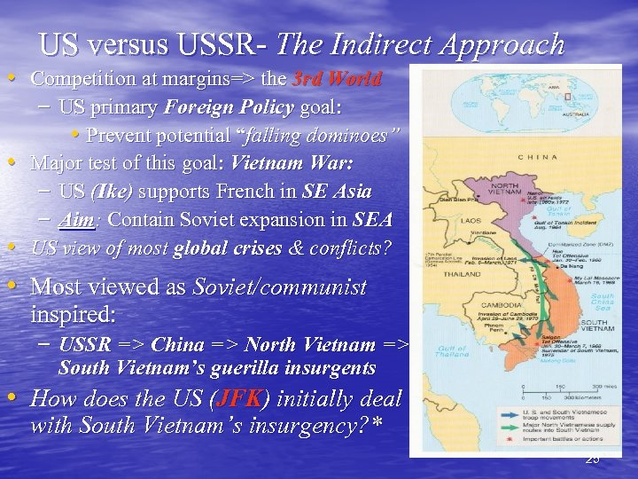 US versus USSR- The Indirect Approach • Competition at margins=> the 3 rd World