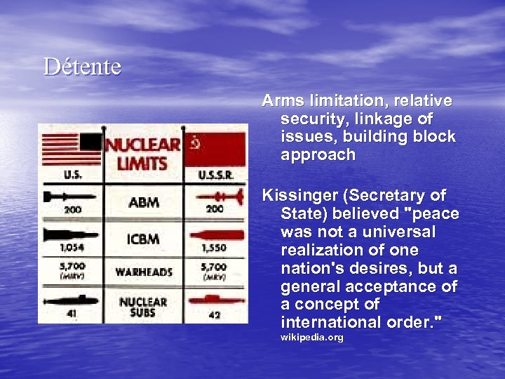 Détente Arms limitation, relative security, linkage of issues, building block approach Kissinger (Secretary of