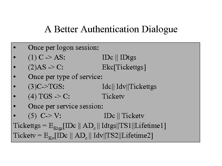 A Better Authentication Dialogue • Once per logon session: • (1) C -> AS: