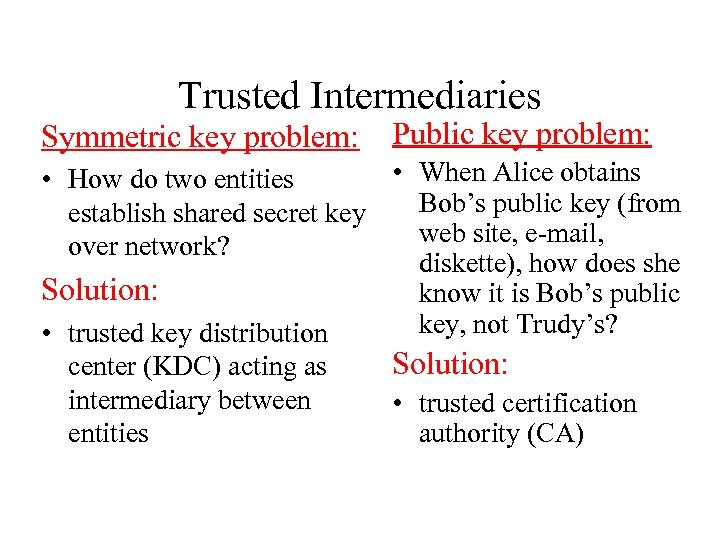 Trusted Intermediaries Symmetric key problem: Public key problem: • When Alice obtains • How