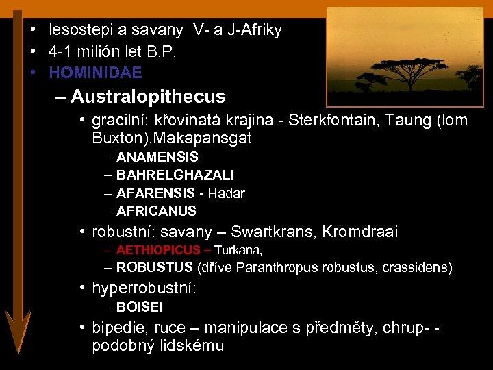 • lesostepi a savany V- a J-Afriky • 4 -1 milión let B.
