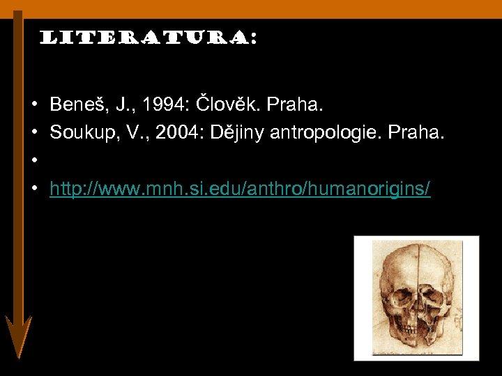 Literatura: • Beneš, J. , 1994: Člověk. Praha. • Soukup, V. , 2004: Dějiny
