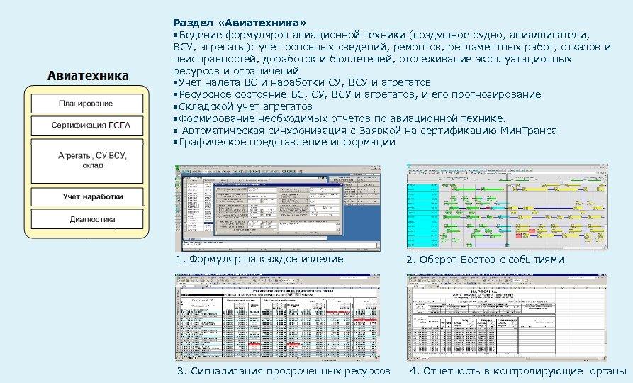 Раздел «Авиатехника» • Ведение формуляров авиационной техники (воздушное судно, авиадвигатели, ВСУ, агрегаты): учет основных