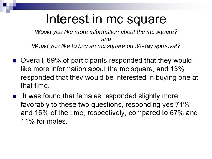 Interest in mc square Would you like more information about the mc square? and