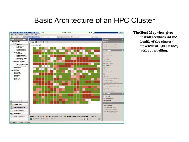 Basic Architecture of an HPC Cluster The Heat Map view gives instant feedback on