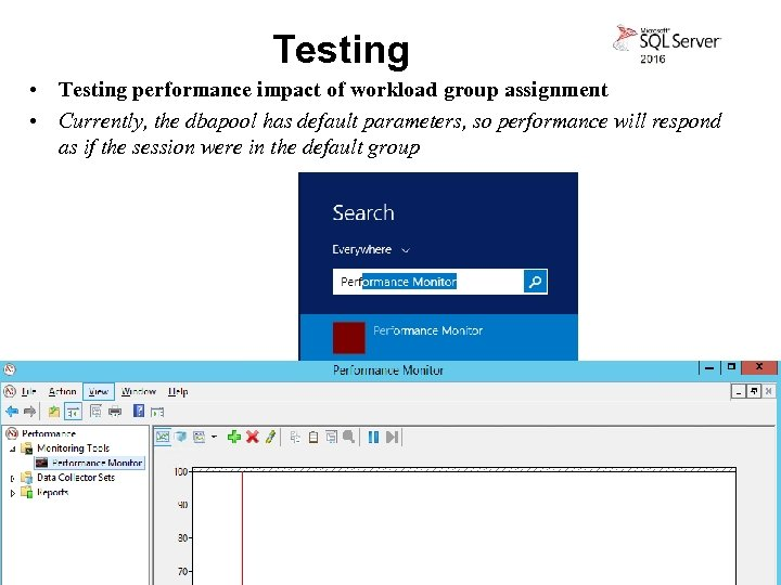Testing • Testing performance impact of workload group assignment • Currently, the dbapool has