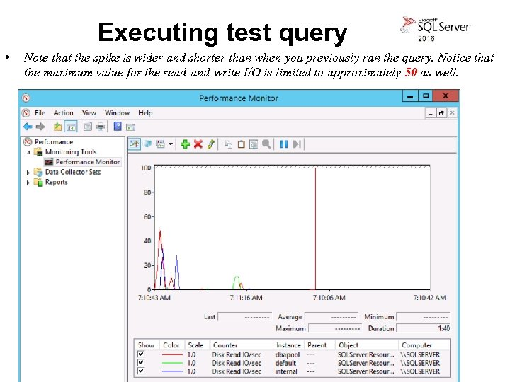 Executing test query • Note that the spike is wider and shorter than when