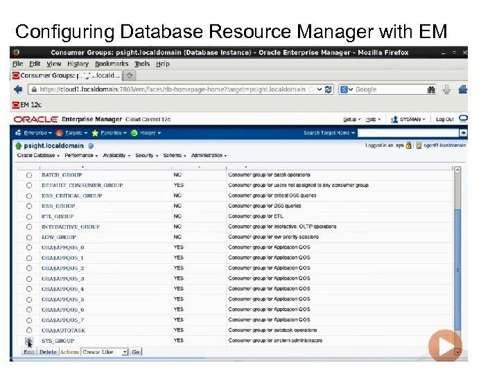 Configuring Database Resource Manager with EM