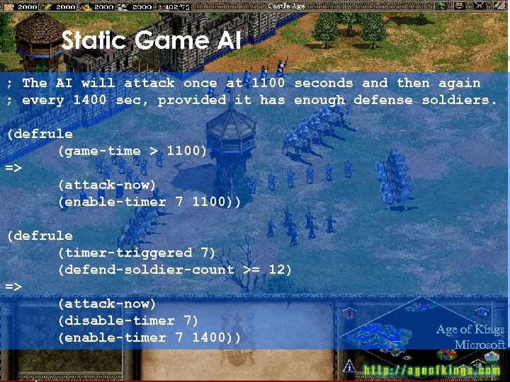Static Game AI ; The AI will attack once at 1100 seconds and then
