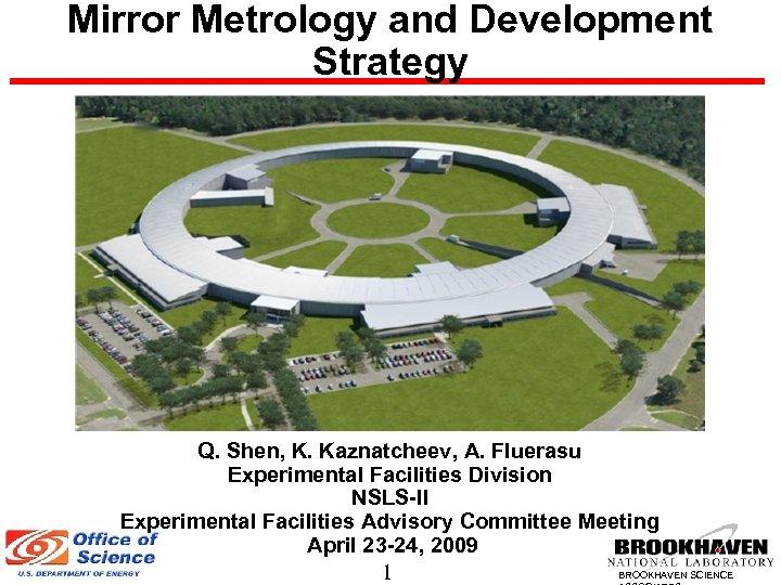 Mirror Metrology and Development Strategy Q. Shen, K. Kaznatcheev, A. Fluerasu Experimental Facilities Division