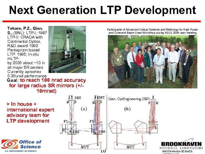 Next Generation LTP Development Takacs, P. Z. , Qian, S. , (BNL): LTP-I; 1987
