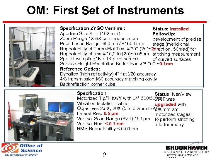 OM: First Set of Instruments Specification ZYGO Veri. Fire : Status: installed Aperture Size