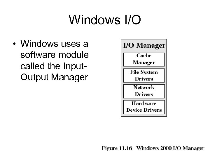 Windows I/O • Windows uses a software module called the Input. Output Manager