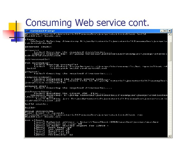 Consuming Web service cont.