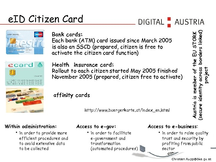 Bank cards: Each bank (ATM) card issued since March 2005 is also an SSCD