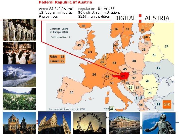 Federal Republic of Austria Area: 83 870. 95 km² 12 federal ministries 9 provinces
