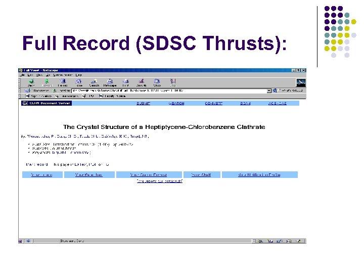 Full Record (SDSC Thrusts):