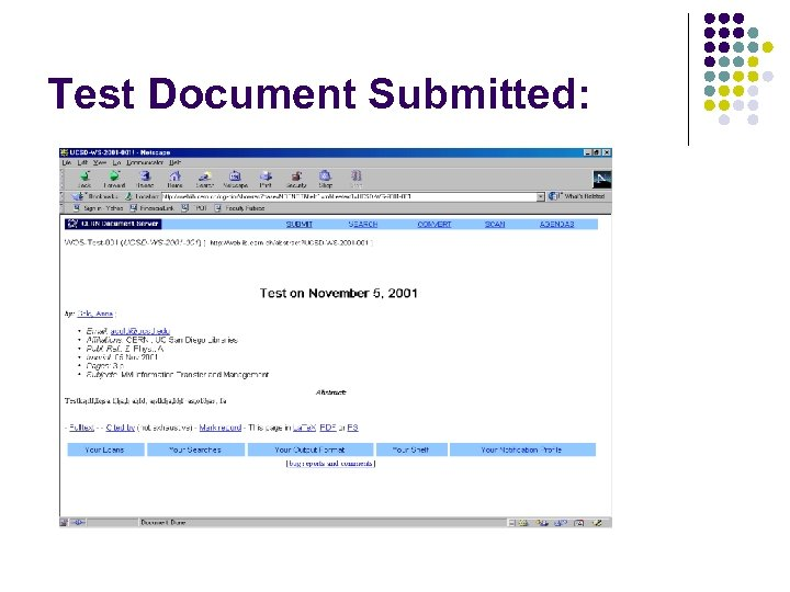 Test Document Submitted: