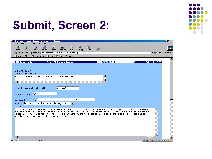 Submit, Screen 2: