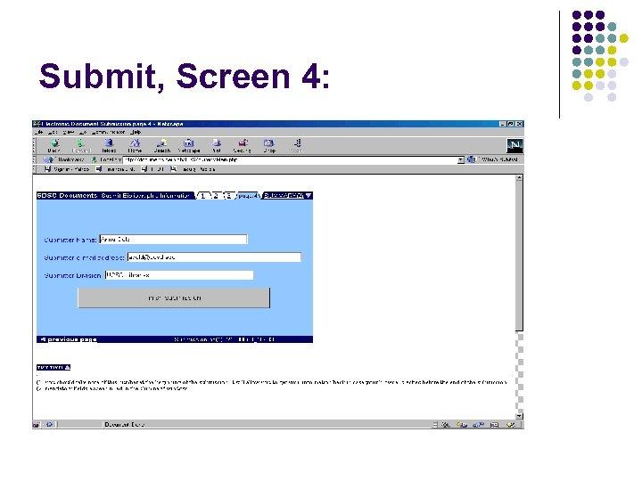 Submit, Screen 4: