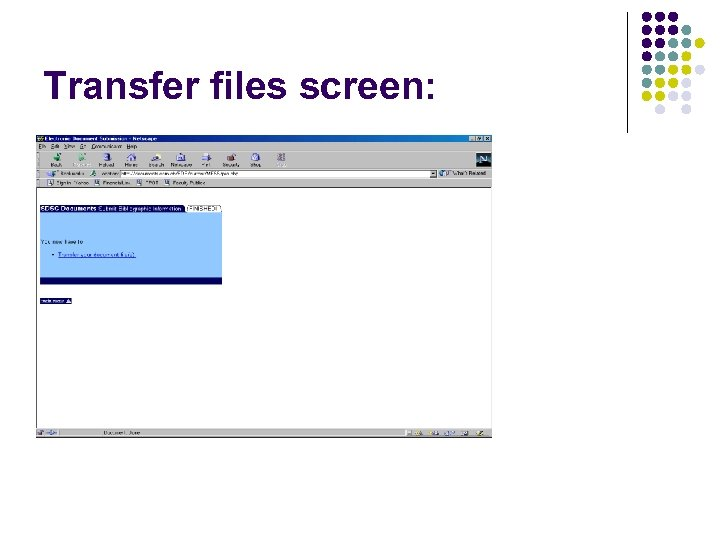 Transfer files screen: