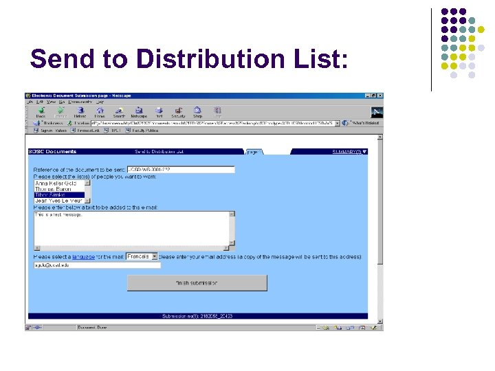 Send to Distribution List: