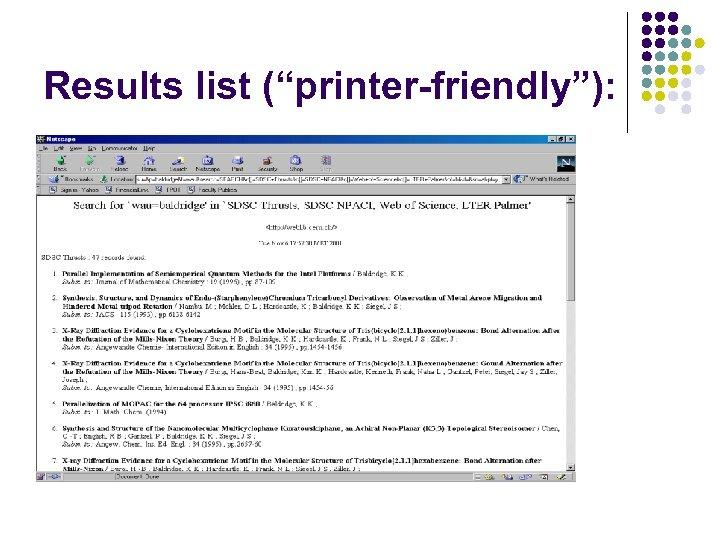 "Results list (""printer-friendly""):"